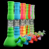 Tütün Beher Bongs Nargile Set Üç Katlı Filtrasyon Su Borusu Silikon Tüp 5 Renkler Cam Bong Su Boruları Dab Rig 14mm Ortak Boyutu