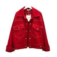 Весенняя женская куртка с отложным воротником Джинсовая куртка Loose Harajuku BF Джинсы Красное пальто Женская джинсовая куртка Хип-хоп Пальто больших размеров