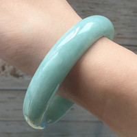 zheru jewelry natural Myanmar jade light green 54mm- 62mm bra...