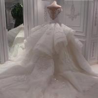 Off Плечо Кружева Аппликации Пухлое Бальное платье Сад Свадебное платье Свадебные платья Пользовательские Плюс Размер Тюль Vestidos de Mariage Formal