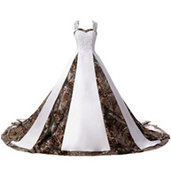 2019 Newest Sexy Sweetheart Lace White and Camo Wedding Dres...