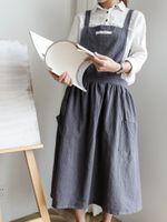 Donne Grembiule gonna a pieghe design semplice Uniform Cotone tuta Grembiuli due tasche cucina cottura Caffè Negozi barbecue grembiule vestiti Casa Cucina