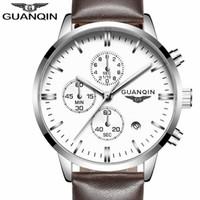 GUANQIN para hombre relojes de primeras marcas de lujo del deporte militar de cuarzo reloj cronógrafo de los hombres manos luminosas Hombre Reloj masculino del relogio