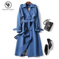 Clásico de las mujeres Trench coat Moda Cinturón de doble botonadura Casual Trench largo 2019 Primavera Nueva Señora de negocios prendas de vestir exteriores de alta calidad