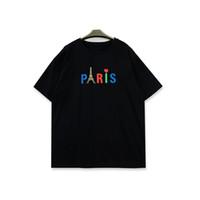 رجل المصمم تي شيرت الرجال النساء باريس طباعة قصيرة الأكمام أزياء الرجال التي شيرت أسود أبيض