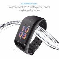 F1S intelligente Colore del braccialetto dello schermo di ossigeno del sangue Monitor intelligente orologio cardiofrequenzimetro Fitness Tracker intelligente orologio da polso per Android iPhone iOS