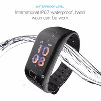 F1S Pulseira inteligente Cor oxigênio do sangue do monitor relógio inteligente Heart Rate Monitor de Fitness Rastreador inteligente Relógio de pulso Por Android iPhone iOS