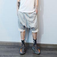 Yüksek sokak bağbozumu hip hop mens harem şort bermuda masculina şort erkekler kasık kısa pantolonunu indirmesi streetwear