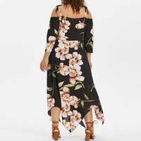 Feitong moda mujer vestido fuera del hombro más tamaño ata para arriba Maxi que fluye impresión floral floja elegante vestido de fiesta Vestidos