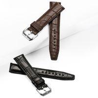 الشحن مجانا للحصول على IW 20mm خ 21mm و22mm و الأسود براون مربط الساعة جلدية ووتش الشريط مع الفضة دبوس مشبك معدني لحزام