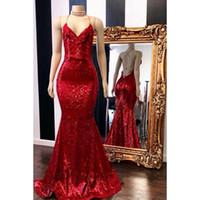 Sexy Back Red Mermiad Prom Dresses 2019 New Sleeveless Piano Lunghezza V Neck Sparkly Paillettes Formale abito da sera Abiti da festa