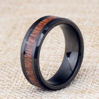 Moda Banda jóias anéis qualidade Black Aço Tungsten Anéis altos Personalidade Veio de Madeira Mens Stainless Steel Anéis