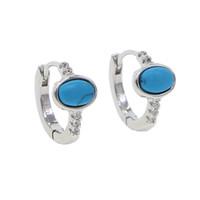 2019 Top qualidade cor de prata de ouro minúsculo bonito oval azul turquesas Gem mini charme brincos de argola para mulheres moda jóias da moda