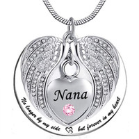 Nana Angel Wing Urn Necklace para cenizas, Heart Cremation Memorial Keepsake Colgante, collar, joyas, kit de relleno y regalo