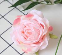 9 cm 9Color Sztuczne głowy kwiatowe Rose do DIY Supermarket Tła Droga LED Ślubny Jedwab Dekoracyjne Kwiat Bukiet GB632