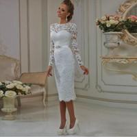 Vinatge envoltura corta boda vestidos de mangas largas Cuentas Banda de longitud de té de encaje de novia vestidos de boda por encargo
