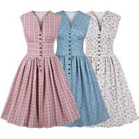 3783460fc0d81 Kadın yaz vintage dress çiçek baskı v yaka kolsuz pin up vestidos düğme fly  akşam parti