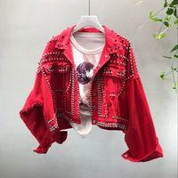 2018 automne femmes Harajuku rouge Denim veste manteau main lourde perlée Rivet court Jean noir Vestes étudiants manteaux basiques tenue