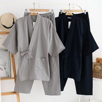 Pigiama uomo autunno QWEEK set 100% cotone Kimono uomo pigiameria pigiama stile giapponese uomo morbido abbigliamento da casa 2 pezzi di alta qualità SH190916