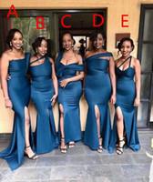 2020 Diferencia Diferencia Estilo de escote sirena Vestidos de dama de honor lateral Split Split Larga Maid of Honor Vestido Bodas Bodas Vestidos