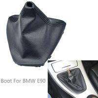 Capas de carro novo deslocamento de engrenagem Shifter Lever Knob Coleiras à prova de poeira PU botas de couro para BMW E90 E91 E92 Acessórios Car