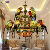 FUMAT Luxuoso Papagaio Duplo Deck Chandeliers Tiffany Manched Glass 12 Pássaros Papagaio Restaurante Bar Club Sala Luzes