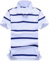 ポロシャツ小ポニー刺繍男性ストライプTシャツブルーカラーアメリカンファッションカジュアルポーモオムコットンカスタマイズデザインティーサイズS-2XL