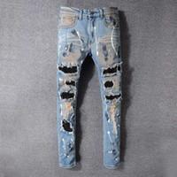 ممزق رجالي جديد المصمم جينز رجالي المتعثرة زيبر جينز سروال جينز رجالي عالية الجودة نحيل السائق سروال