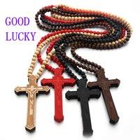 Gut Glück aus Holz katholisches Jesus-Kreuz mit Holzperle Geschnitzte Rosenkranz hängender langen Collier Opulente Halskette Männer Schmuck