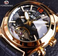 Forsining Convex 유리 세련된 tourbillion 3D 디자이너 정품 가죽 스트랩 망 시계 탑 브랜드 럭셔리 자동 시계 시계