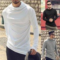 T-Shirts Hip Hop-Art-Stacked Kragen Langarm Männer-shirts beiläufige Art und Weise der Männer plus Größen-T-Shirts loses Mens mit Kapuze