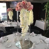 2020 Decoración de la boda de acrílico transparente flor geométrica camino soporte de mesa decoración del partido novia decot zócalo de acrílico