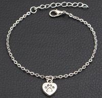 20 adet / grup Köpek Paw Prints Kalp Charms Bilezik Antik Gümüş İlk Bilezik DIY El Yapımı Link Zinciri Bilezik Kadınlar Için