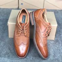 Señores de piel Brogues zapatos de vestir diseñador de zapatos del banquete de boda de los hombres zapatos de cordones de zapatos de piel marrón real informal con la caja de calidad superior US13
