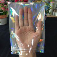 Holografik Gökkuşağı Renk Mylar Çanta Baden Mühür Tarafından Kapanabilir Gıda Güvenli Çanta Özelleştirmek Ücretsiz Kargo Kabul
