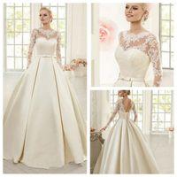 2019 Joya mangas largas de encaje apliques una línea de vestidos de novia de la boda vestidos de satén simple jardín ata para arriba detrás sin espalda Vestidos de matrimonio