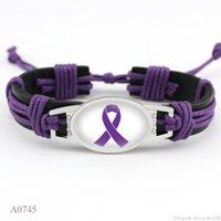 Fighter Breast Cancer Awareness Ruban Rose Charm Bracelets en cuir Ruban jaune tissé corde Bangle Cadeaux Femmes Déclaration de bijoux