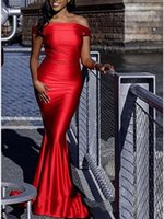 2020 Simple Red fora do ombro Prom Vestidos Plus Size Mermaid Africano Formal Evening Prom vestidos baratos