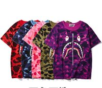 2019 summer new camouflage shark mouth print T- shirt men and...