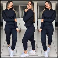 Spor Kadın Tasarımcı eşofman 2adet Pantolon Moda Kadın Fermuar ile Katı Aktif Set Gündelik Giyim
