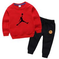 10 cores designer de marca 100% algodão crianças roupas meninos meninas vestuário conjunto de roupas sportswear manga longa moletom + calça definida para crianças