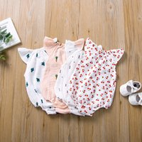 5 Farben Neugeborene Baby Strampler Sommer Overall Kirschkaktus Gedruckt Infant Girl Princess Onesies Bodysuit Kleidung Neue 2020