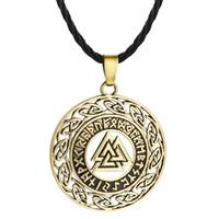 Huilin joyería eslavo colgante collar hueco triángulo colgante redondo retro joyería de plata de bronce collar vikingo