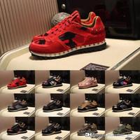 Lüks Tasarımcılar Erkekler RockRunner Kamuflaj Kadın Ayakkabı Sneaker Hakiki Deri Erkek Kadın Flats Rahat Eğitmenler Boyutu 35-45