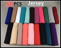Scarves atacado- 50 pcs 180 * 80cm Elasic Jersey Hijab xaile lenço, 180 * 80 cm, pode escolher cores Preço de fábrica especialista design Qualidade Última Estilo Original Status