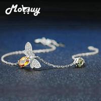 Mobuy love bee 925 sterling zilveren armband vrouw citrien edelstenen sieraden wit vergulde ketting sieraden mbhi059
