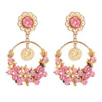 Boucles d'oreilles de charme de fleurs bijoux de grandes boucles d'oreilles fleurs de charme pour les femmes sans expédition de mode chaud