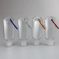 50ml botellas vacías de alcohol desinfectante de mano recargable de la botella con el anillo de tecla de conexión al aire libre portátil gel transparente transparente Botella EEA1548