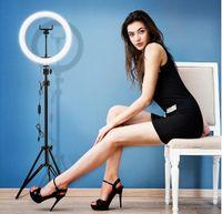 10 polegadas Luz de vídeo Dimmable LED Selfie Light Light Usb Anel Lâmpada Luz de Fotografia Com Telefone Titular 2M Tripé Suporte para Maquiagem YouTube