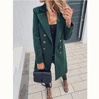 Sonbahar Kış Uzun Ceket Foe Kadınlar Yaka Çift Düğme Yün Palto Ofisi Bayanlar Yün Katı Palto Moda İnce Dış Giyim